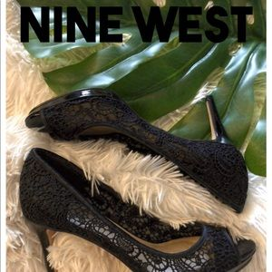 Nine West heels ⭐️ sz 7.5 ⭐️ black lace, peep-toe
